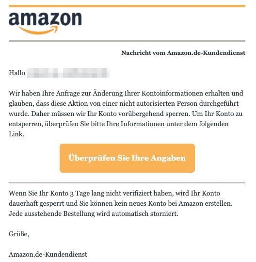 2020-07-21 Amazon Spam Fake-Mail hre Anfrage ist eingegangen