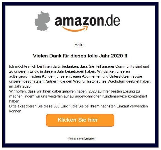 2020-07-21 Amazon Spam-Mail Ihr Amazon Code 1444689 starten Sie jetzt bitte