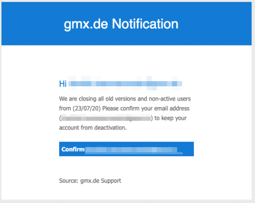 2020-07-21 GMX Spam Phishing-Mail Confirm Email To Avoid Deactivation