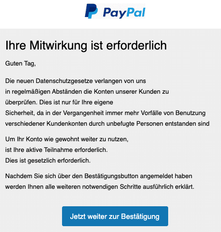 2020-07-21 PayPal Fake-Mail Spam Wichtige Informationen