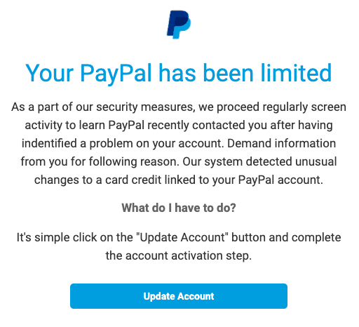 2020-07-21 PayPal Spam-Mail Status Added New Notification Account Updates