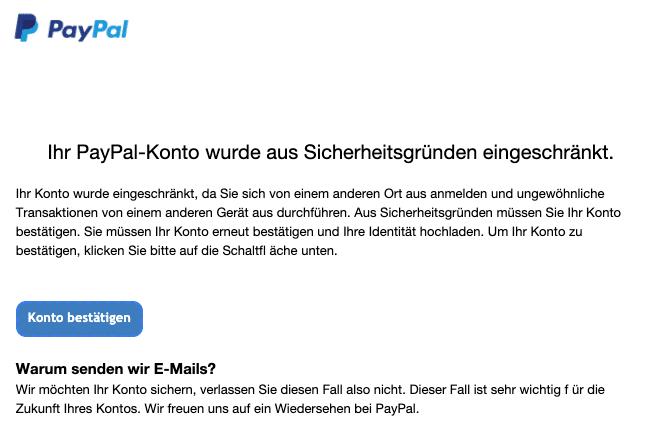 2020-07-23 PayPal Fake-Mail Ihr Kontostatus lautet aus Sicherheitsgruenden Halten