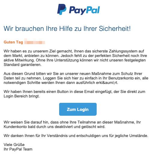 2020-07-23 PayPal Spam-Mail Neue Mitteilung