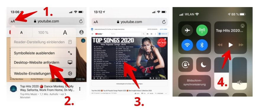 2020-07-23 iPhone Youtube Musikvideo Hintergrund Wiedergabe Tipp
