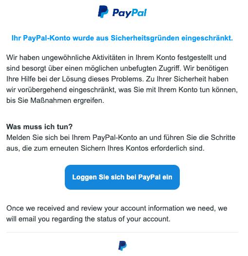 2020-07-24 PayPal Spam Fake-Mail Ihr PayPal-Konto wurde aus Sicherheitsgründen eingeschränkt