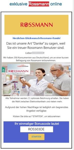 2020-07-27 Rossmann Spam-Mail Fake Wir haben eine Ueberraschung für Rossmann Shopper