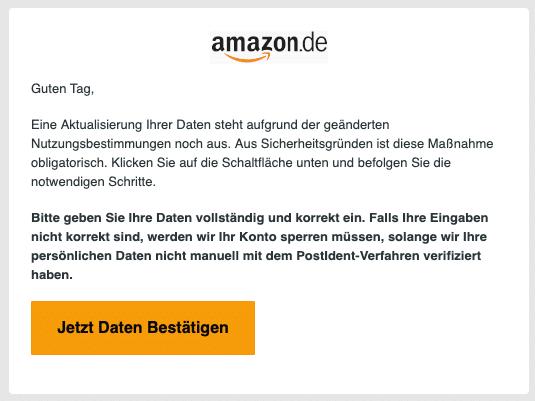 2020-07-30 Amazon Spam Fake-Mail Wichtige Informationen - Ihr Handlungsbedarf ist gefordert