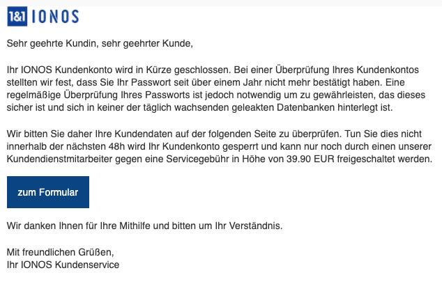2020-07-30 IONOS Spam Fake-Mail Ihr Kundenkonto wird in kuerze geschlossen