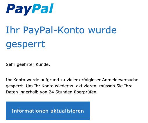 2020-07-30 PayPal Spam Fake-Mail Konto gesperrt