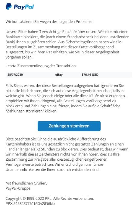 2020-07-31 PayPal Spam Fake-Mail Unautorisierter Zugriff auf Ihr Konto