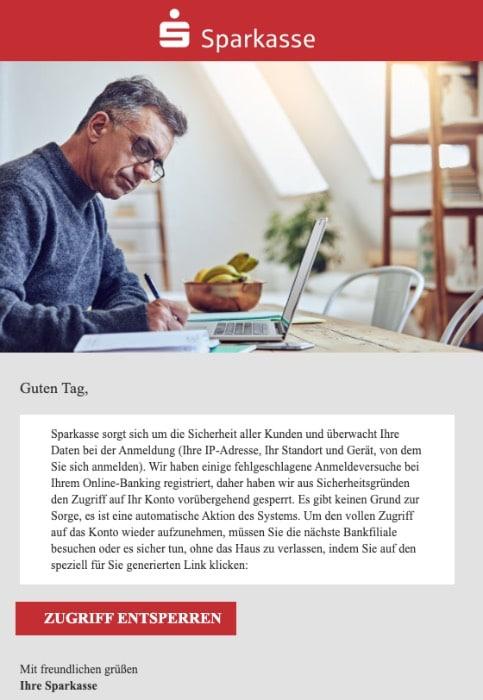 2020-07-31 Sparkasse Spam Fake-Mail Ihre Sparkasse