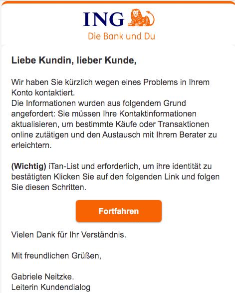 2020-08-02 ING Bank Spam Fake-Mail Die iTAN-Liste steht vor dem Aus
