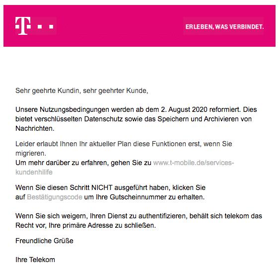 2020-08-02 Telekom Spam Fake-Mail Bestaetigung erforderlich