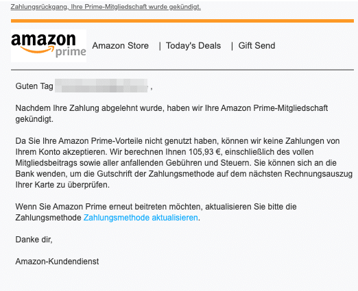 2020-08-06 Amazon Spam Fake-Mail Prime Kuendigung