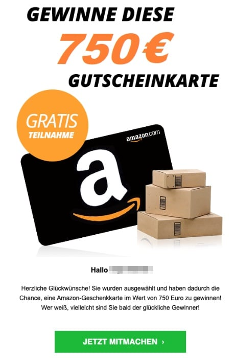 2020-08-06 Amazon Spam Fake-Mail 750 Euro Gutschein