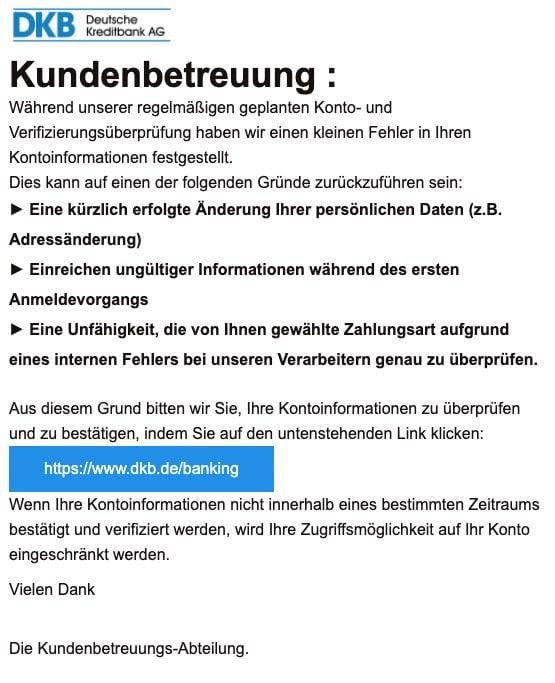 2020-08-06 DKB Bank Phishing-Mail Spam Kundenbetreuung