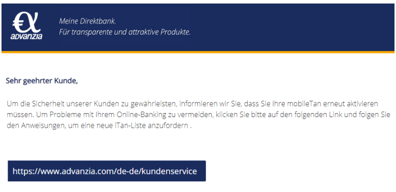 2020-08-11 Avanzia Bank Spam Fake-Mail Eine erneute Aktivierung ist erforderlich