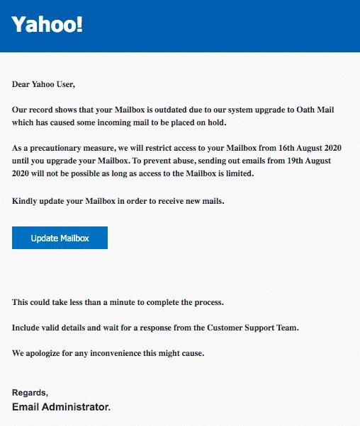 2020-08-17 Yahoo Spam Fake-Mail Yahoo Maintenance Alert