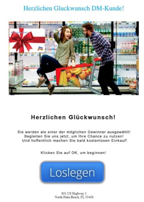 2020-08-17 dm Drogerie Spam Fake-Mail Exklusives Angebot