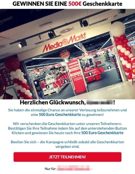 2020-09-29 Mediamarkt Spam-Mail Exklusives Geschenk