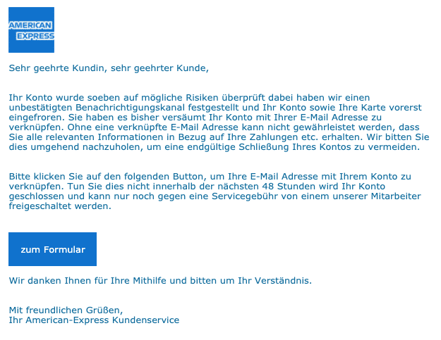 2020-08-04 American Express Fake-MailIhr Konto wurde vorerst eingefroren