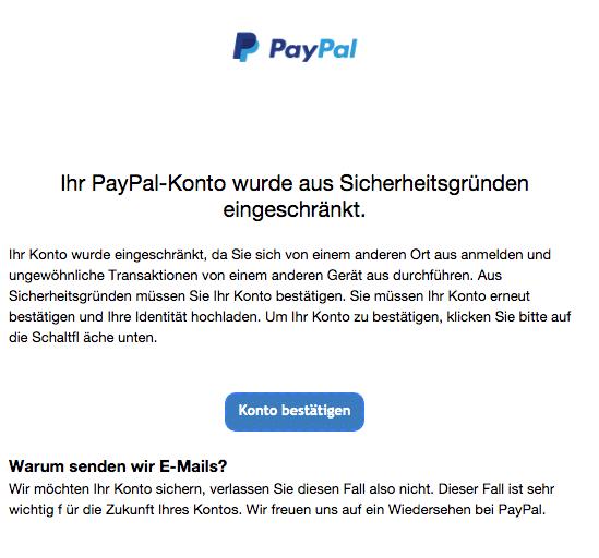 2020-08-04 PayPal Spam Fake-Mail Ihr Konto wurde von einem anderen Ort aus angemeldet