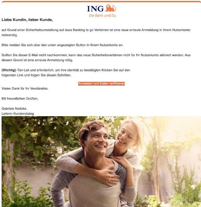 2020-08-05 ING DiBa Spam-Mail Fake Informationen zu Ihrem Bankkonto