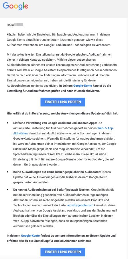 2020-08-06 Google E-Mail Wir haben deine Sprach- und Audioeinstellung aktualisiert