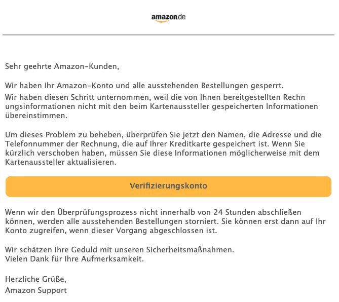 2020-08-07 Amazon Spam Fake-Mail Ihr Amazon Konto hat sich auf dem neuen Geraet angemeldet