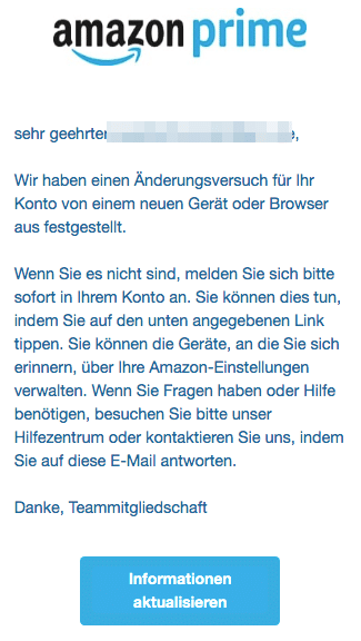 2020-08-10 Amazon Spam Fake-Mail Aktion erforderlich