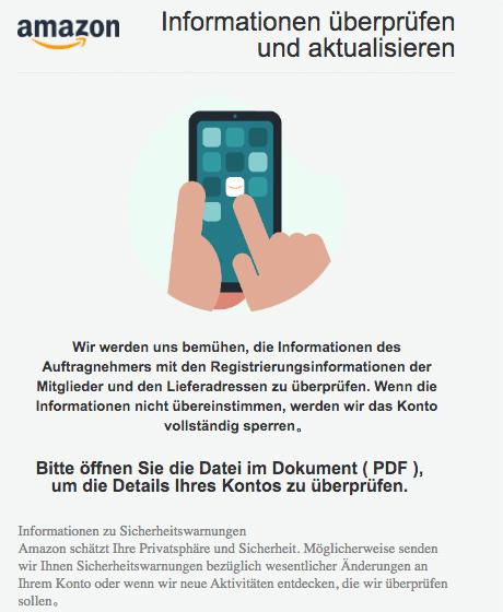 2020-08-10 Amazon Spam Fake-Mail Informationen in Ihrem Konto scheinen zu fehlen