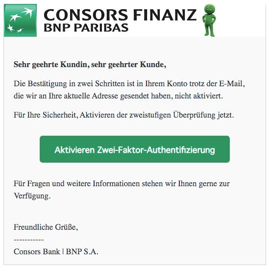 2020-08-10 Consors Bank Spam-Mail Aktivieren Zwei-Faktor-Authentifizierung