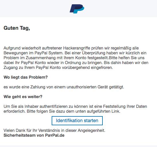 2020-08-10 PayPal Spam Fake-Mail Ihr Zugang ist eingefroren