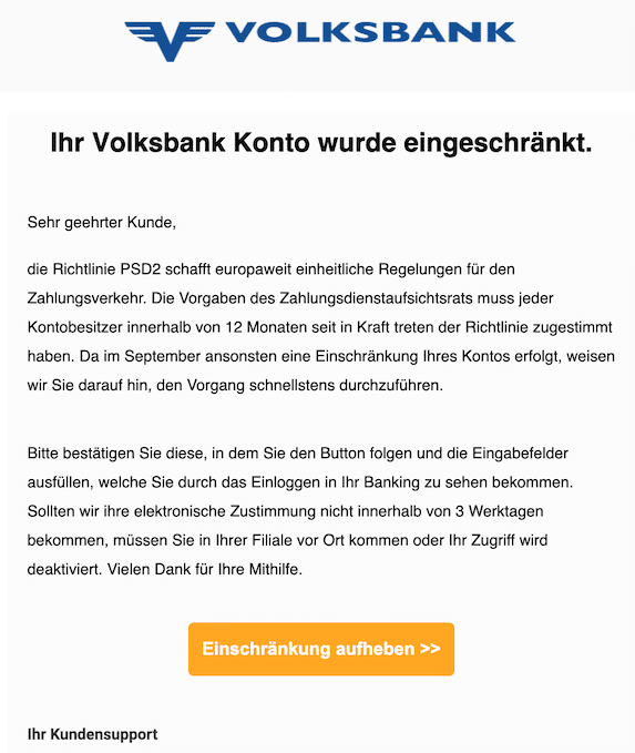 2020-08-11 Phishing VR-Bank