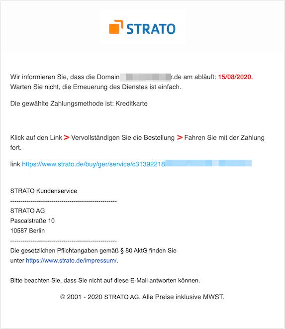 2020-08-11 Strato Phishing