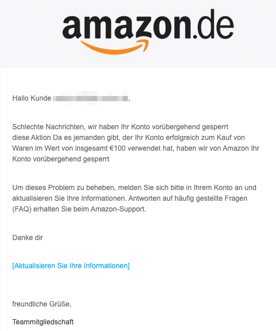 2020-08-13 Amazon Spam Fake-Mail Konto gesperrt