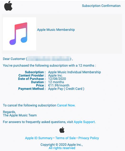 2020-08-13 Apple iCloud Abo Spam-Mail Fake