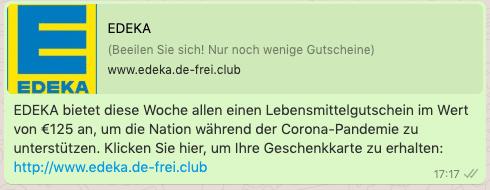 2020-08-13 WhatsApp Nachricht Edeka 125 Euro