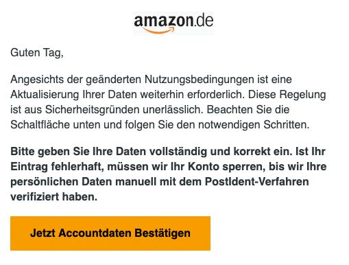 2020-08-14 Amazon Spam Fake-Mail Wichtige Mitteilung - Ihr Handeln ist noetig