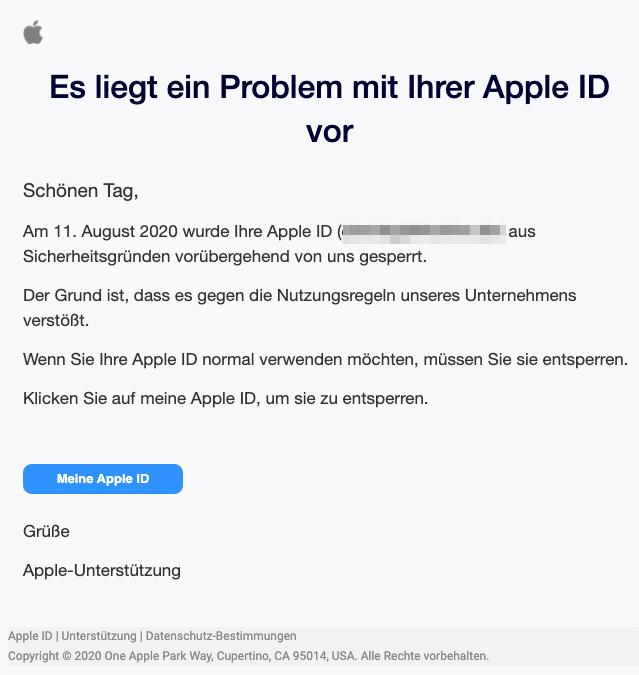 2020-08-14 Apple Spam-Mail Es liegt ein Problem mit Ihrer Apple ID vor