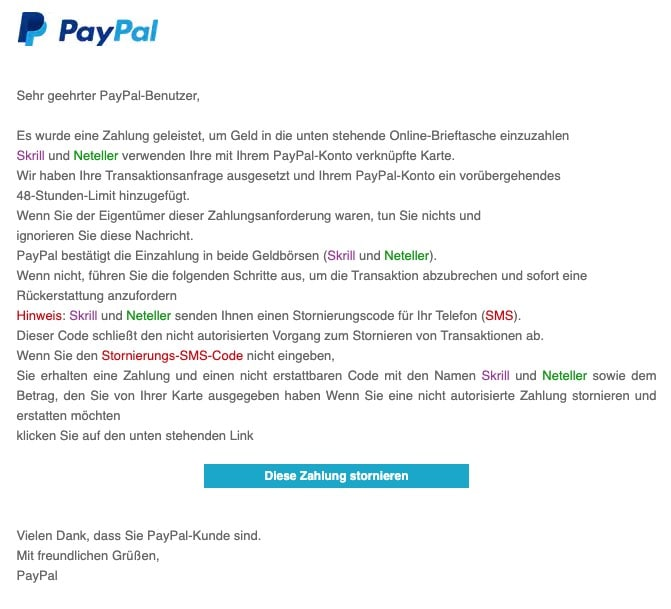 2020-08-18 PayPal Spam-Mail Fake Aktion auf Ihrem PayPal-Konto erforderlich