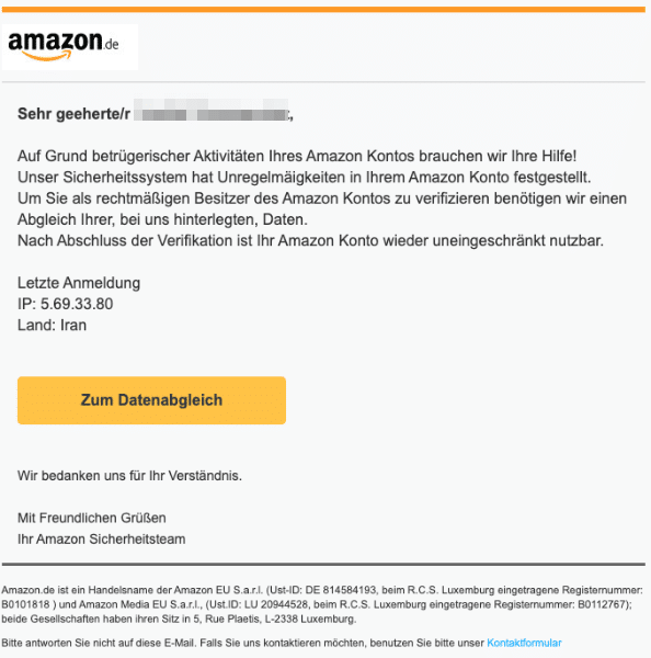 2020-08-20 Amazon Spam Fake-Mail Ihr Konto