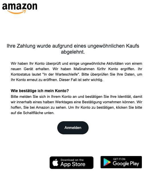 2020-08-20 Amazon Spam-Mail Benachrichtigung vom Team-Support