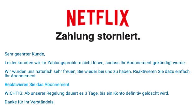 2020-08-21 Netflix Spam Fake-MailOTP NetfIix Zahlung storniert