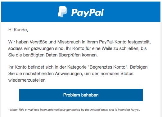 2020-08-21 PayPal Spam Fake-Mail Ihr Zugriff wurde gesperrt