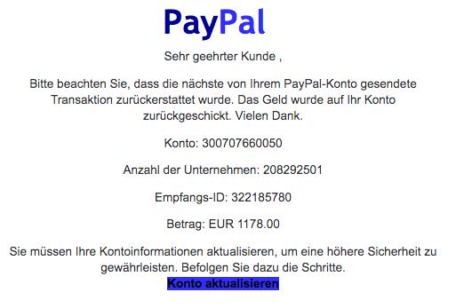 2020-08-21 PayPal Spam Fake-Mail Mitteilung Rueckerstattung von Transaktionen