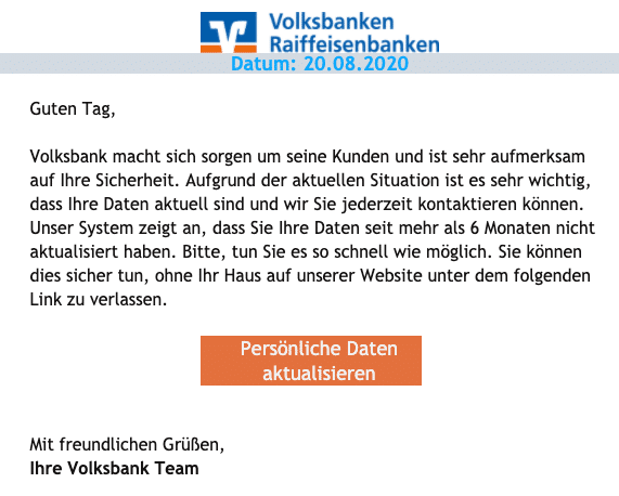 2020-08-21 Spam Fake-Mail Volksbank eG