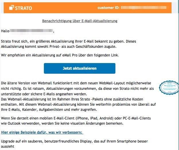 2020-08-21 Strato Spam Fake-Mail Neue E-Mail verfuegbar Aktualisieren alle Kunden empfohlen