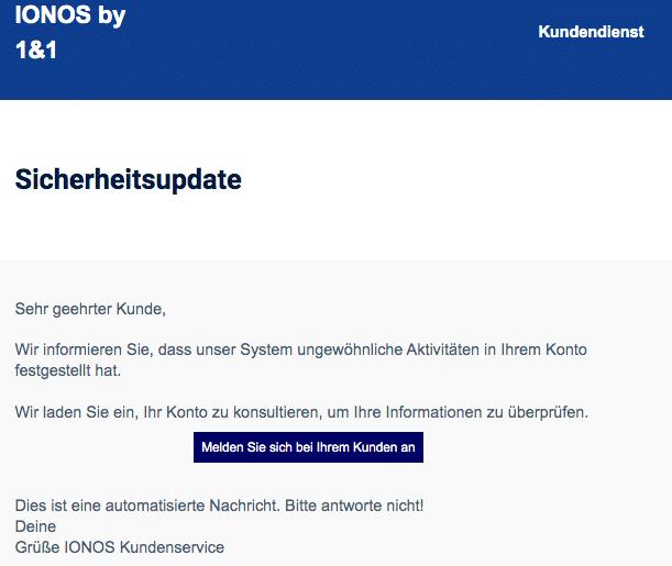 2020-08-22 IONOS Spam-Mail Fake Sicherheitsupdate