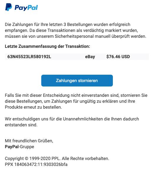 2020-08-24 PayPal SPam Fake-Mail Wir brauchen Ihre Hilfe bei Ihren letzten Bestellungen